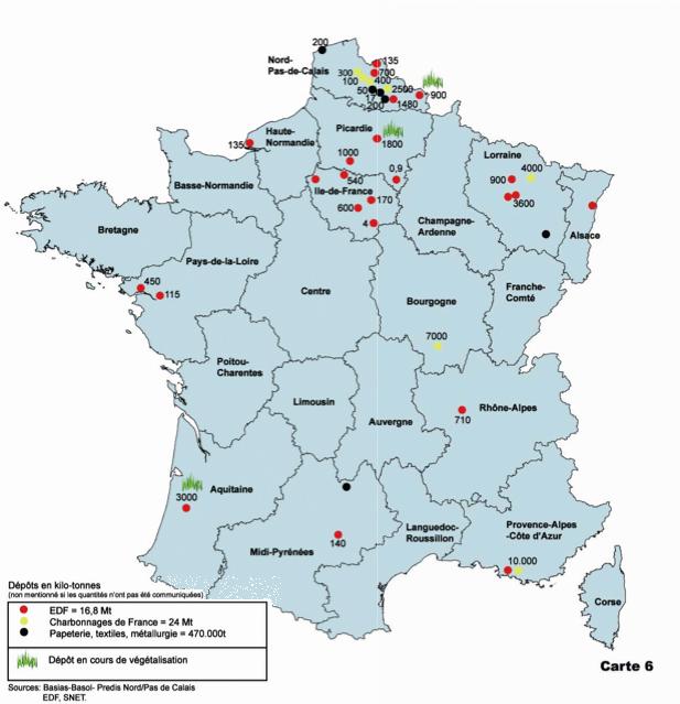 La carte des dépôts de cendres de charbon en France © Robin des bois/ASN