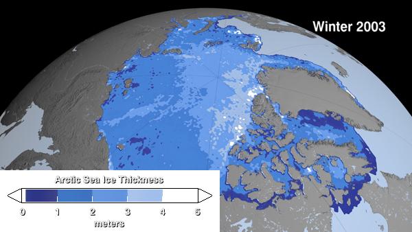 L'épaisseur de banquise l'hiver 2003-2004 © Nasa