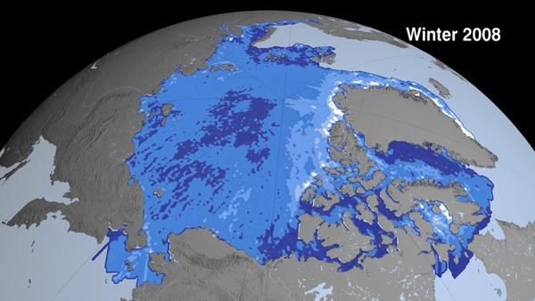 L'épaisseur de banquise l'hiver 2008-2009 © Nasa