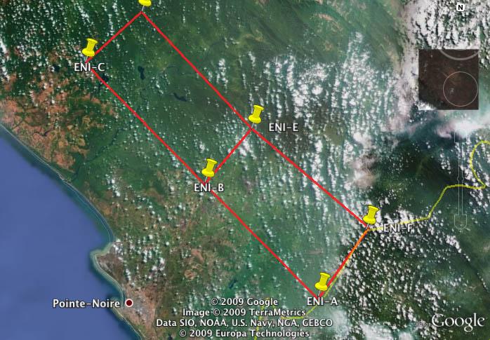 La zone concédée à Eni au Congo pour exploiter des sables bitumineux © Google