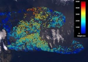 Le nuage vu le 19 avril 2010 par spectroradiométrie au large de l'Islande © Nasa