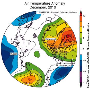 Anomalies de température  (°F) relevée au dessus de l'Arctique en décembre 2010 © NSIDC