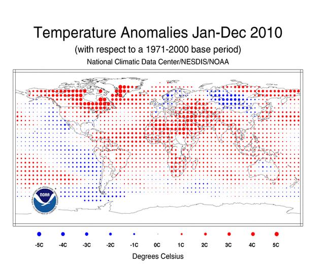 Anomalie de température en 2010 selon la NOAA © NCDC