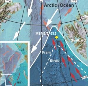 En rouge, le courant qui apporte de la chaleur vers l'Arctique. En blanc, le mouvement des glaces de mer © R. Spielhagen et al./Science