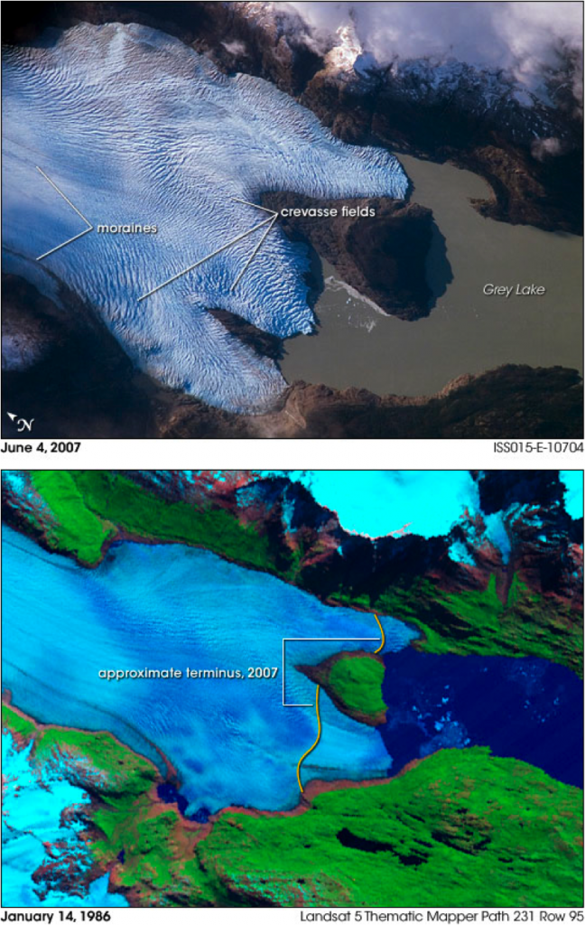 Evolution du glacier Grey entre 1986 et 2007 © Nasa