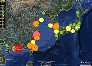 A l'Est de l'Asie, la population qui vit à moins de 75 km d'une centrale nucléaire © Nature/Columbia University/Google