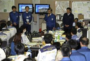 Le PDG de Tepco, dans le centre de crise de la ville de Fukushima lundi 11 avril. Sa première apparition publique depuis le 13 mars © Tepco