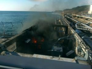 Départ de feu dans une installation liée au réacteur 4, le 12 avril 2011. Incendie rapidement éteint. © Tepco