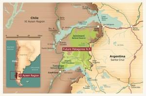 la carte du projet de Parc national de Patagonie © DR