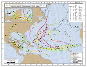 Les trajectoires des tempêtes dans l'Atlantique centre en 2010 © NOAA