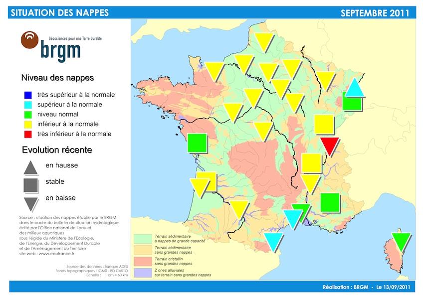 Les nappes d'eau souterraine au 1er septembre © BRGM