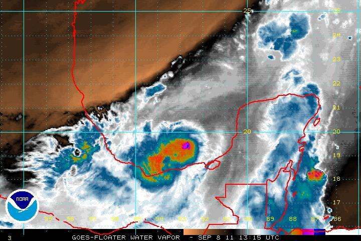 La tempête tropicale Nate vue le 8 septembre à 13h15 UTC par le radar du satellite Goes-1 ©Nasa